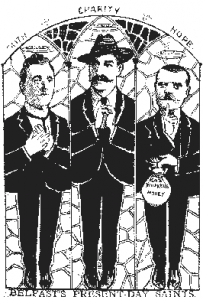 'Faith, Charity and Hope'—cartoon depicting, respectively, William Walker, James Larkin and Alex Boyd. (Nomad's Weekly, 17 August 1907)