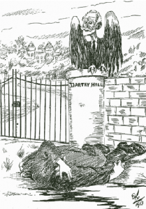 Murphy depicted as the 'vulture of Dartry Hall' by Ernest Kavanagh. (Irish Worker, 6 September 1913)