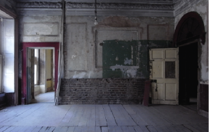 The stair hall room at first-floor level. The decades of neglect have had the paradoxical consequence of preserving its character as a tenement building. (C. Duggan/Dublin City Council)