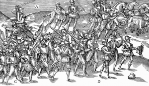 The English army returning triumphant from battle, carrying the severed heads of the defeated Irish. The one on the extreme right, held by the hair, is reputedly Feagh's sister, Margaret Maol O'Byrne, wife of Rory Óg O'More, both killed in early 1580. (John Derrick's Image of Irelande [1581])