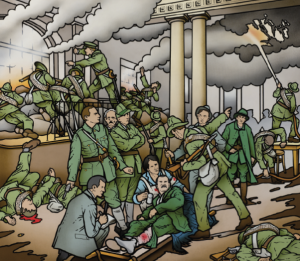 Above: Robert Ballagh's reinterpretation of Walter Paget's Birth of the Irish Republic and (opposite page) the original. (National Museum of Ireland)