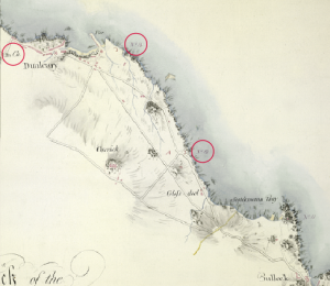A map of the rocky shoreline of the area in 1804