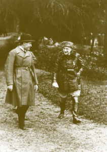 Gabriele D'Annunzio (right) emerged from the First World War as Italy's most decorated hero. Following the annexation of Fiume, he earned the sobriquet 'the John the Baptist of Fascism'. He and his followers perfected key elements of what became the Fascist liturgy (the black shirt, Roman salute, demagogic speechifying and choreographed street demonstrations). In addition, Fascist corporatism borrowed heavily, albeit in a perverse way, from the governing principles of the Fiuman regime. These truths notwithstanding, D'Annunzio never fully embraced the Mussolini dictatorship. For his part, the Duce (left) resented D'Annunzio as a potential rival. To prevent a public rift, Mussolini supplied D'Annunzio, who had expensive tastes in art, prostitutes and narcotics, with vast sums of money and other rewards. Even so, their relationship remained an uneasy one. In the 1930s the Mussolini–Hitler alliance, which D'Annunzio abhorred, was a particular cause of tension. (Fondazione Il Vittoriale degli Italiani, Archivio Iconografico)