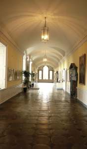 Of particular note is the Long Gallery  which runs the full length of the ground floor, with its stone-tiled floor laid in the Carréaux d'Octagnes pattern. (Roscommon County Council)