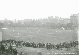 Above: A cricket match at College Park, Trinity College, Dublin, c. 1900. The marquee to the right is roughly where Miss Kathleen Wright was shot on 3 June 1921. (NLI)