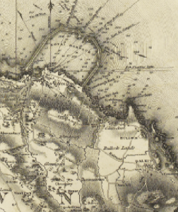 Above: William Duncan's 1821 map of County Dublin includes the 'rail road' used to carry granite blocks from Dalkey and shows an incomplete west pier with a narrower harbour mouth than was actually built.