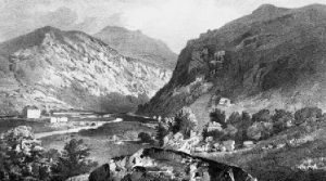 Above: Nineteenth-century lithograph of 'the rough and rugged recesses' of Glenmalure. (G. Rowe)
