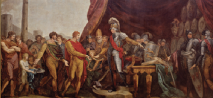 Above: Long after Gerald of Wales, the claim that Irish rulers freely submitted to Henry II was included in proclamations of the English right to rule Ireland. In the late 1780s, Vincenzo Waldré produced this painting of the Irish princes' submission for the ceiling of St Patrick's Hall in Dublin Castle, accompanied by other paintings depicting English rule as a civilising and Christianising mission. (National Monuments Service)