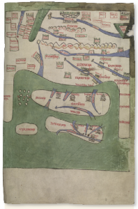 Above: This map of Europe, accompanying Gerald's Topography of Ireland and Conquest of Ireland in a c. 1200 manuscript, shows Ireland's proximity to Spain (bottom right). The alleged Basque origin of the Irish played a vital role in Gerald of Wales's arguments ('rights' 1 and 3) that the English crown had the right to rule Ireland. (NLI)