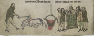 Above: The images in Topography emphasise Irish exoticism and barbarism. The inauguration of Ulster kings is illustrated here: following ritual sexual intercourse with a horse, which is then slaughtered, the king bathes in a great pot containing the horse-flesh and eats the meat! (NLI)