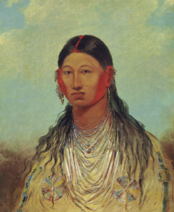 Koon-za-va-me (Female War Eagle), one of George Catlin's Iowa troupe, who visited Ireland in 1845. (Smithsonian American Art Gallery)
