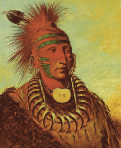 No-ho-mun-ya (One Who Gives No Attention, a.k.a. Roman Nose). This Iowa, painted by Catlin in London in 1844, became ill in Ireland and died in Liverpool the following year. (Smithsonian American Art Gallery)