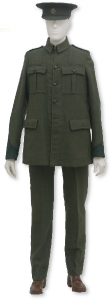 Volunteer Seán O'Duffy's uniform, for which he paid a tailor 25 shillings, quite a large sum of money then. Many Volunteers wore their uniforms during the 1916 Rising but were treated as traitors by the British rather than as prisoners of war.