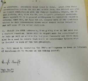 The last page of Hugh Swift's letter (9 December 1980) from the Irish embassy in London reporting to Dublin on his meeting with Brian Fall, head of the Eastern Europe and Soviet Department of Britain's Foreign and Commonwealth Office (FCO). (NAI)