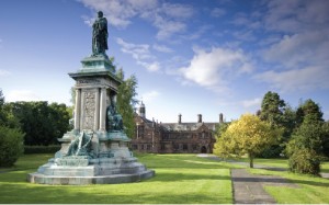 The statue of Gladstone, intended for Dublin, paid for by Irish subscriptions and now in the grounds of his library at Hawarden, near Chester. (Gladstone Library)