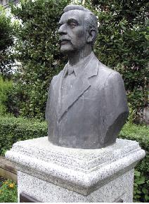 bust in the Lafcadio Hearn Memorial Park in Okubo, Shinjuku, Tokyo.