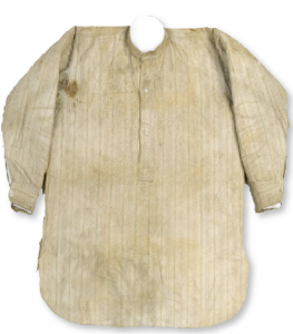 The shirt worn by James Connolly during the Rising, stained with his blood. It was given to Nora Connolly, presumably after it was removed while he was treated at the first-aid station in Dublin Castle. (National Museum of Ireland)