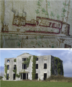 Detail of Clogrennane Lodge, Co. Carlow, home of Robert Rochfort, from 'A Survey and plan of the Demesne of Clogrennane situate in the Queen's county and county of Carlow, the estate of John Rochfort, 1774' by Tomas Ivers, and (below) the ruins of its successor, Clogrennane House, built by his brother, John Staunton Rochfort, c. 1815 and abandoned by the family in 1923. (National Library of Ireland)
