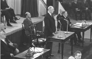 President Eamon de Valera addressing the joint houses of the Oireachtas in the Mansion House on 21 January 1969 and Joe Clarke