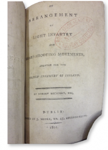 Title-page of Robert Rochfort's 1801 pamphlet on yeomanry manoeuvres. In this short tactical handbook he lamented 'observing the gradual decline of that esprit du guerre which at one time so eminently distinguished the Yeomanry infantry of Ireland'.