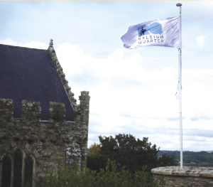 Flying the flag for the 'Raleigh Quarter' near St Mary's Collegiate Church, Youghal.