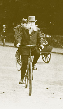 John Boyd Dunlop on a chain-driven safety bicycle, which did not replace the ordinary or the tricycle on Ireland's roads until Dunlop, a Scottish veterinarian practising in Belfast, demonstrated its superior capabilities when it was fitted with pneumatic tyres.