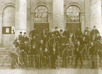 Members of a cycling club with their ordinaries and tricycles outside Waterford courthouse. (NLI)