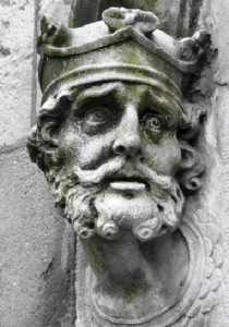 The crowned head of Brian Boru on the Chapel Royal, Dublin Castle. While the concept of the kingship of Ireland was old, it is unclear what it entailed.