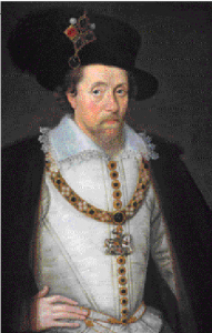 Above: James VI of Scotland—there would not be another king of Ireland who claimed Gaelic descent until James became ruler of the three kingdoms in 1603. (Scottish Portrait Gallery)