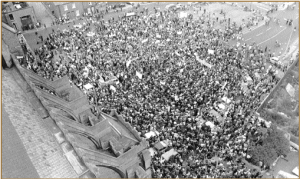 Part of the 'Save Wood Quay' protest demonstration on 23 September 1978—20,000 people from every part of the country took to the streets in an extraordinary show of public sentiment.