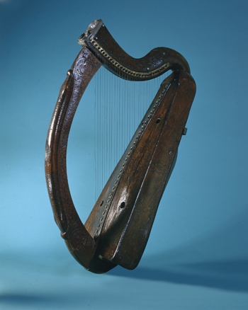 Above: The 'Brian Boru' harp—a fantastic legend is attached to this iconic instrument. (Trinity College, Dublin)
