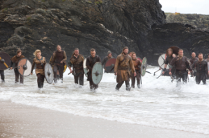 Above: A Viking raid as depicted in Michael Hirst's TV series Vikings, filmed on location at Silver Strand, Co. Wicklow. (History Channel)