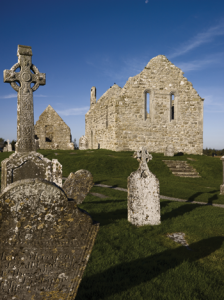 Clonmacnoise, Co. Offaly—an entry in the Annals of Ulster under the year 845 confirms that the Vikings rampaged throughout the central midlands and plundered and burned Clonmacnoise. (Tourism Ireland)
