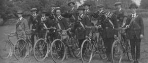 A Volunteer cycle corps at Fairview Park, ready for the journey to Howth.