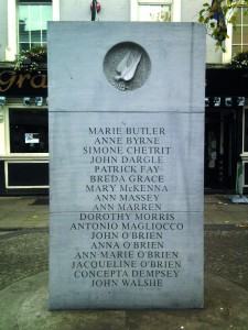 Front and back of the memorial unveiled in Talbot Street in 1997, listing the names of the victims.