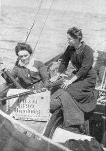 Molly Childers and Mary Spring-Rice aboard the Asgard. (F.X. Martin, The Howth gun-running and the Kilcoole gun-running, 1914 [Dublin, 1964])