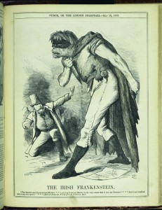 """'THE IRISH FRANKENSTEIN. """"The baneful and blood-stained Monster * * * yet was it not my master to the very extent that it was my creature . . . Had I not breathed into it my own spirit?"""" * * * (Extracts from the Works of C.S. P-rn-ll, M.P.).' Punch (20 May 1882) quotes from Mary Shelley's Frankenstein to link Charles Stewart Parnell (left) with the murders. (British Library)"""