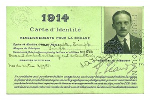Captain James Cuffe's 1914 Belgian carte d'identité. Officially, he was an extra attaché at the British Embassy on a motorcycle trip. Unofficially, his instructions were to spy and to discover which route an invading army would be likely to take.