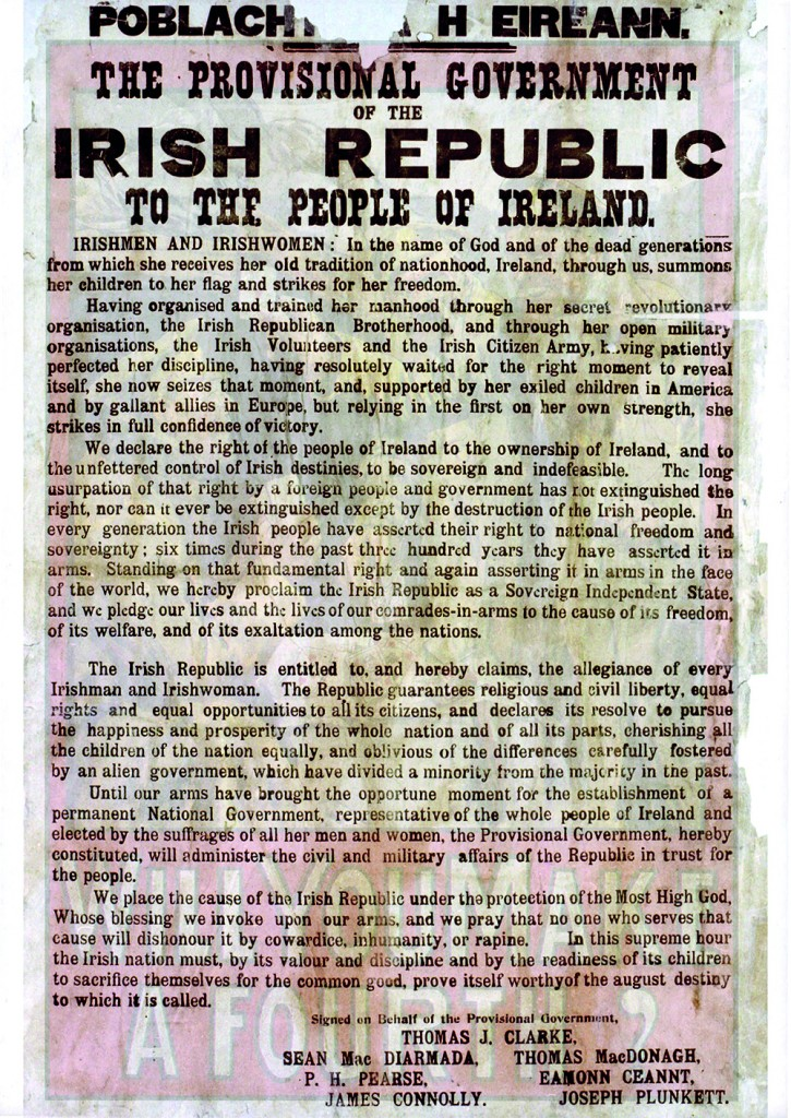 Proclamation taken from the walls of the GPO. (Trinity College, Dublin)