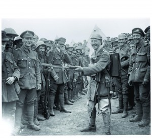 Royal Dublin Fusiliers celebrating their victory at the Battle of Wijschate-Messines Ridge, June 1917, where they fought as part of the 16th (Irish) Division alongside the 36th (Ulster) Division. (Imperial War Museum)