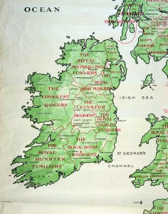 Prior to 1922, eight infantry 'regiments of the line' recruited in Ireland. As demonstrated here, each regiment had a specific catchment area. A ninth infantry regiment, the élite Irish Guards, was based in London. Each of these regiments was represented at the costly battles of 1914.