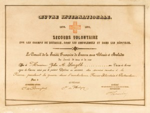 War certificate of service and Franco-Prussian War medal (above) of J.A. Smyth. (NMI)