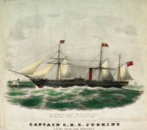 The steamship Hibernia, sister ship of the Cunard Line's Cambria, on which Douglass travelled. (National Maritime Museum).