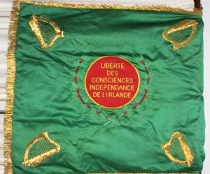 'Freedom of Conscience/ Independence of Ireland'—the Legion's flag or 'colour'.