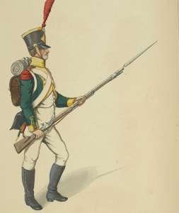 The green uniform with parchment yellow facings of a light infantryman in Napoleon's Légion Irlandaise. (New York Public Library).