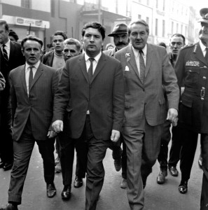 John Hume (centre) with Home Secretary James Callaghan (right), visiting Derry's Bogside in August 1969. Less than five years earlier, Hume had chaired a cross-community 'University for Derry Campaign'. (Larry Doherty)