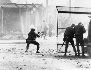 Dealing with the 'violent' Irish—British Army photograph of a riot in the Bogside, Derry, at Easter 1981. (Imperial War Museum)