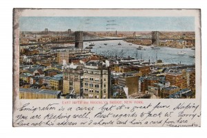 Brooklyn Bridge, New York—'Emigration is a curse but it's great fun'.