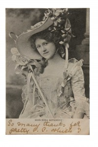 The English actress and singer Nina Sevening—the majority of the cards have nothing to do with Ireland or Irishness.