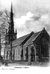 The east end of Lisburn Cathedral and the chancel window. (Lisburn Museum)